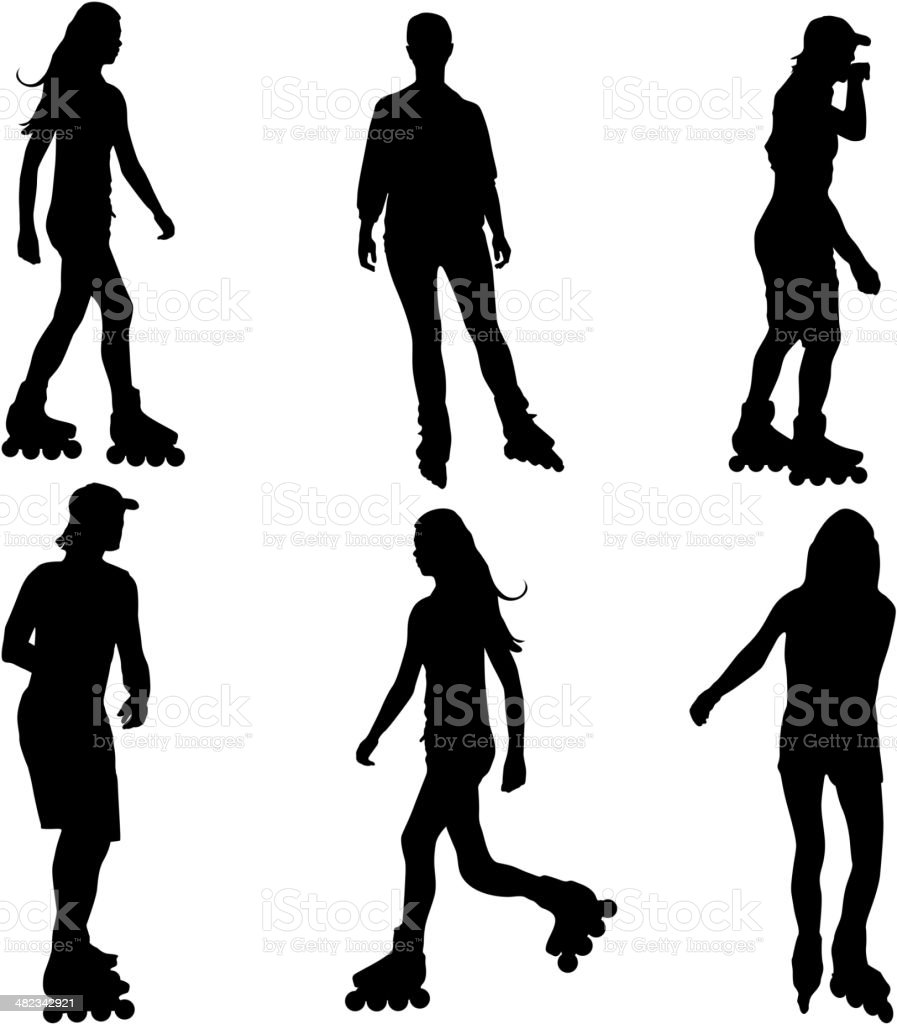 Silhouettes of people rollerskating. vector art illustration