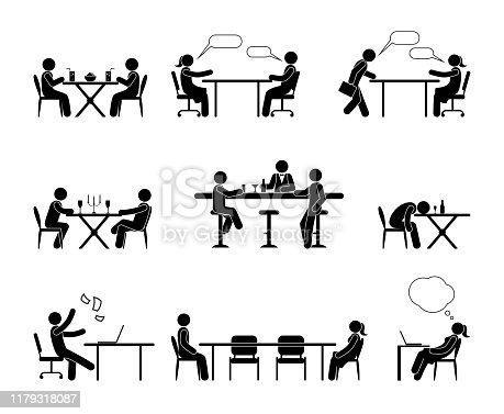 istock silhouettes of people sitting at a table, various social situations, stick figure people 1179318087