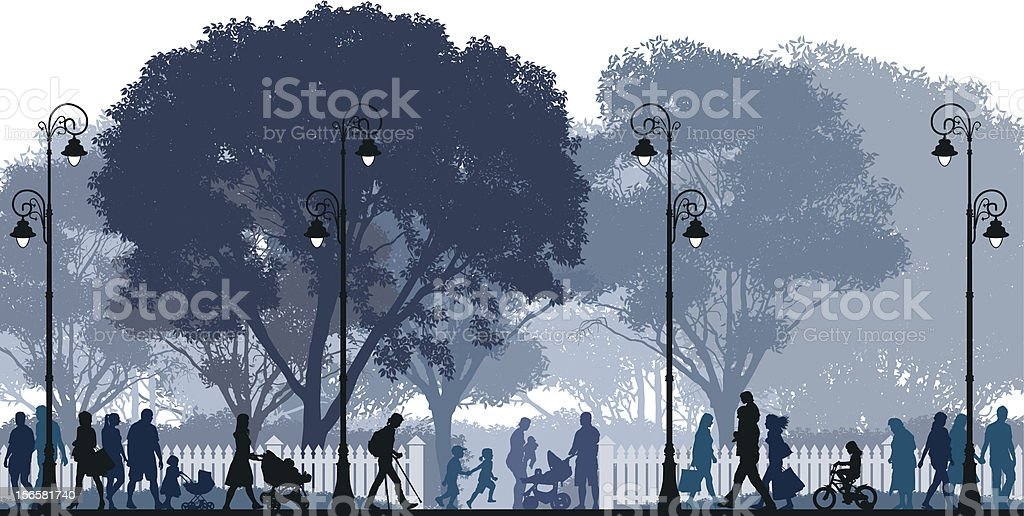 Silhouettes of people walking in a park at night vector art illustration