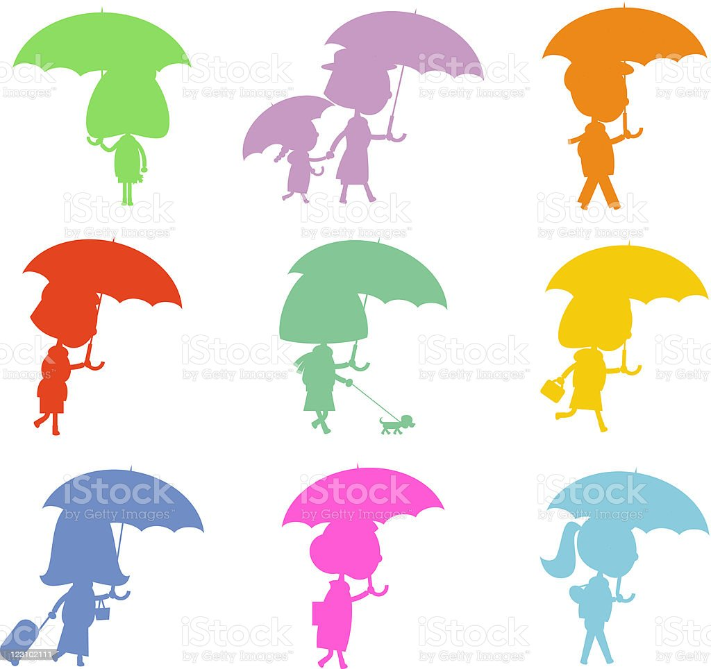 Silhouettes of people with umbrellas royalty-free stock vector art