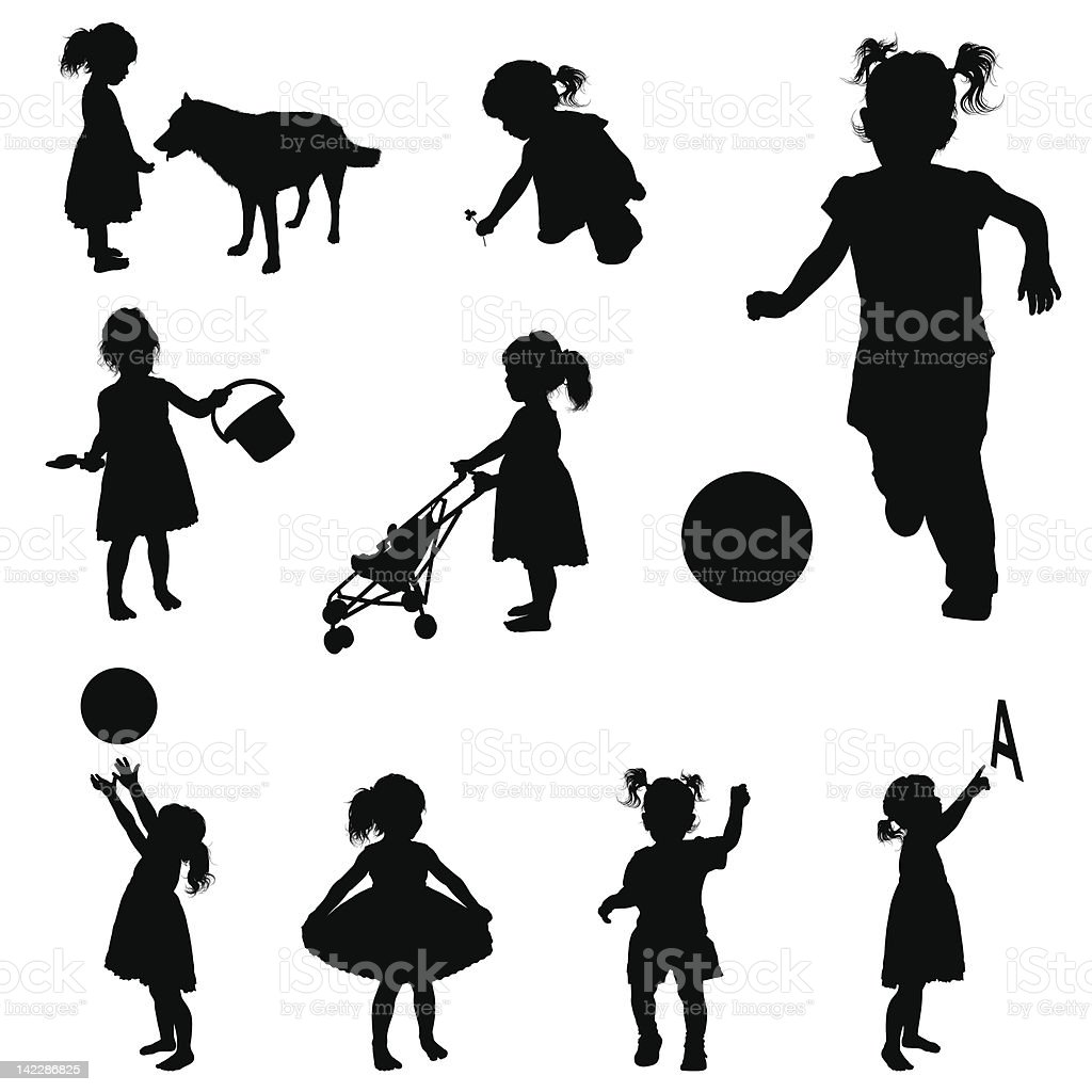Silhouettes of playing girl. vector art illustration