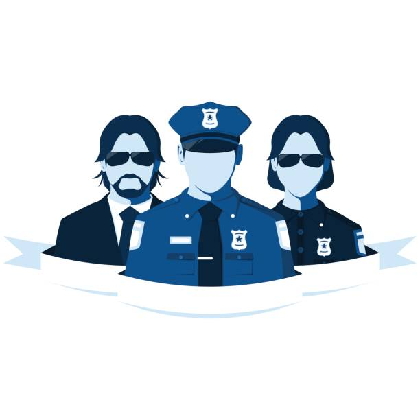 Silhouettes of policeman, policewoman and detective agent Group of police officers isolated on white background. Silhouettes of policeman, policewoman and detective agent. Flat vector illustration. police uniform stock illustrations
