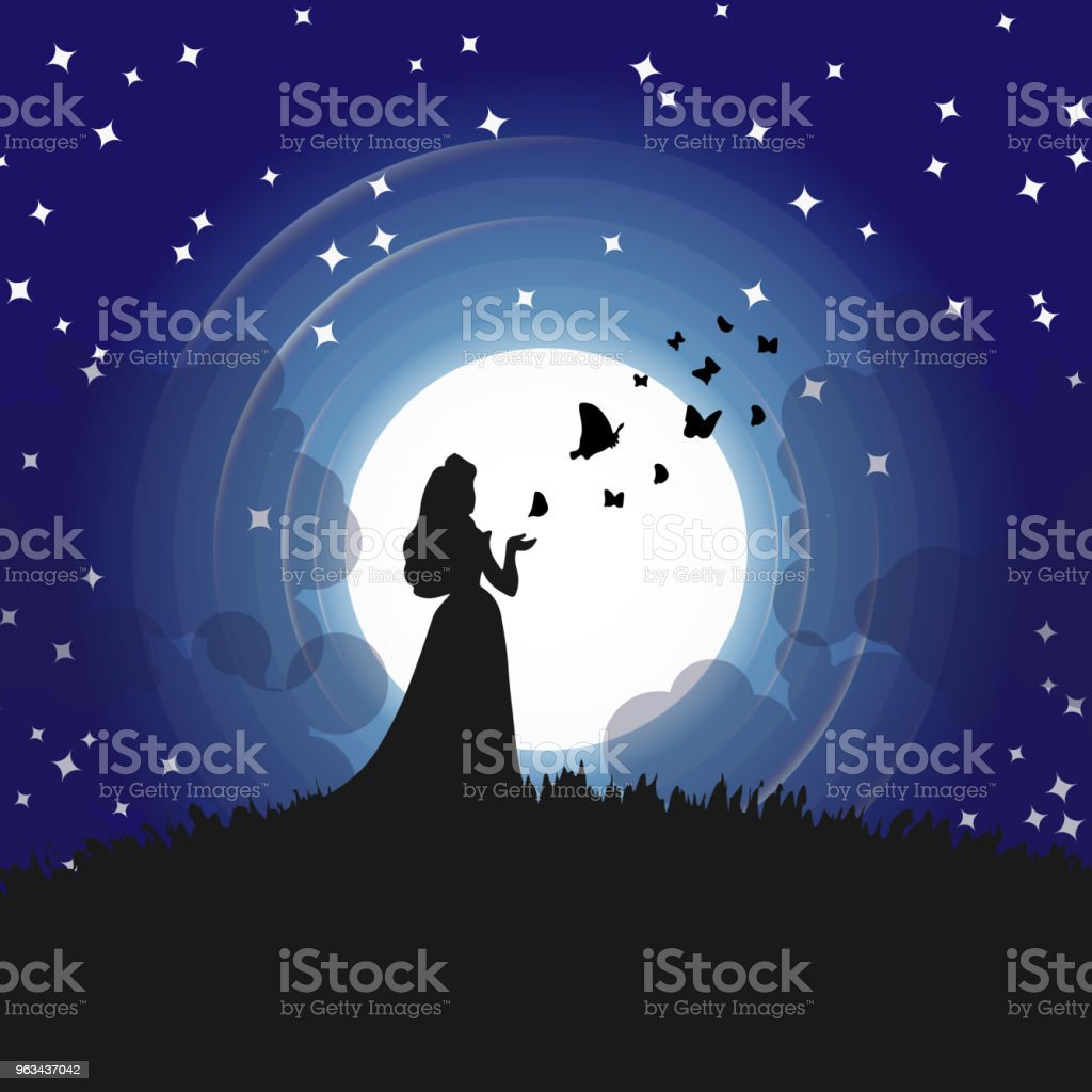 Silhouettes of princess and butterflies in full moon, Blue Night sky with stars. - Grafika wektorowa royalty-free (Abstrakcja)