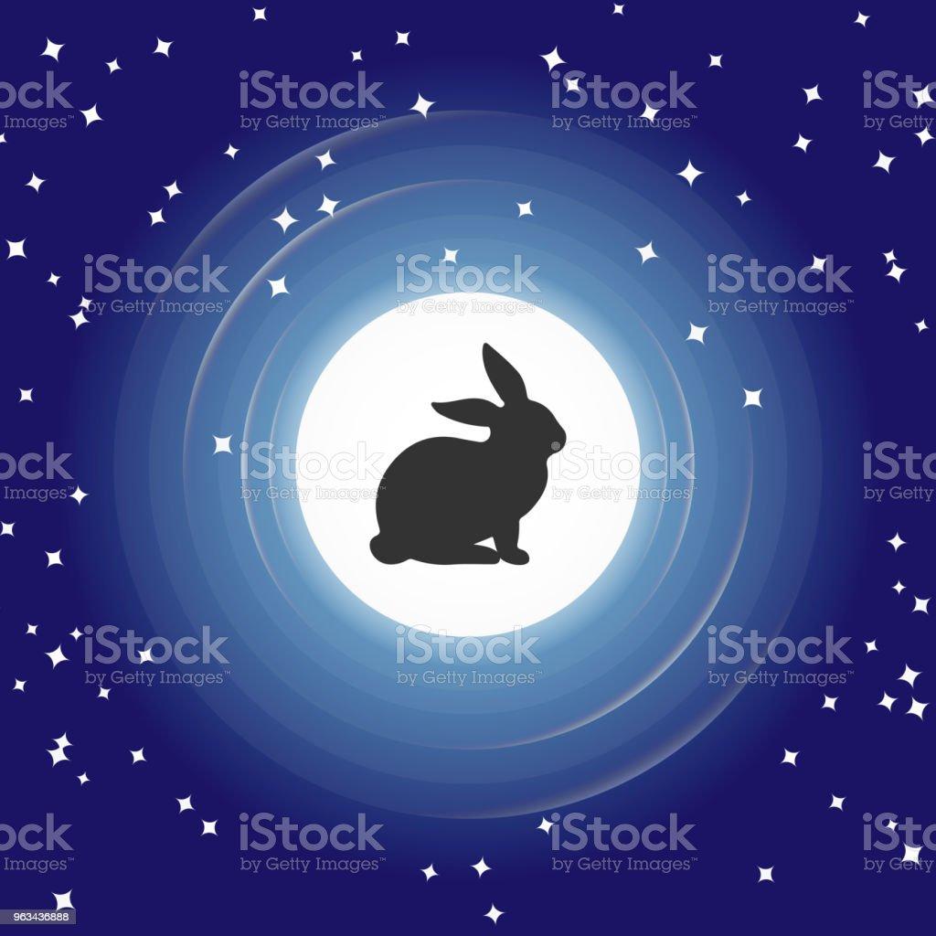 Silhouettes de lapin à la pleine lune, ciel bleu avec des étoiles. - clipart vectoriel de Abstrait libre de droits