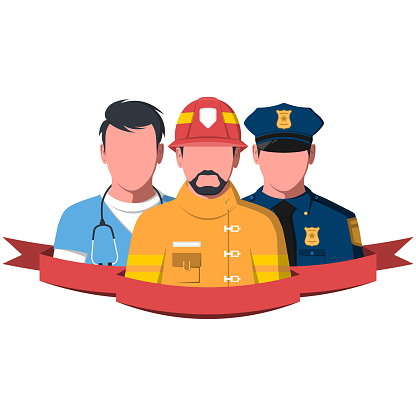 Silhouettes of rescue workers paramedic, firefighter and policeman