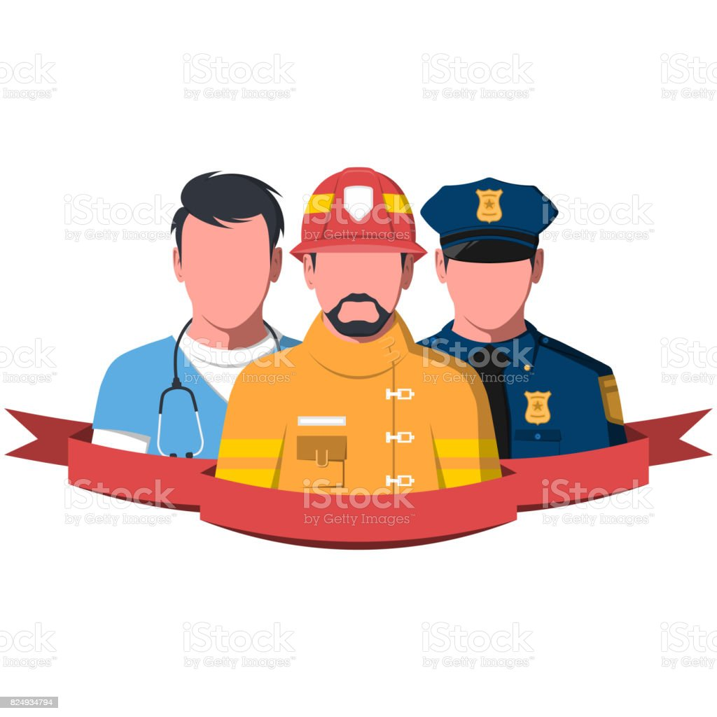 Silhouettes of rescue workers paramedic, firefighter and policeman vector art illustration