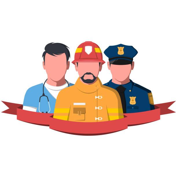 救助労働者救急救命士、消防士および警官のシルエット - 救急救命士点のイラスト素材/クリップアート素材/マンガ素材/アイコン素材
