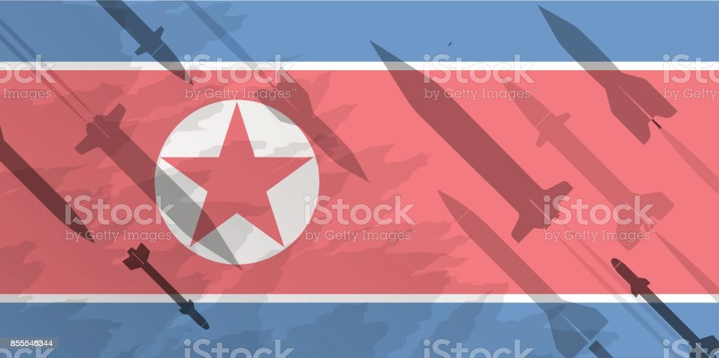 Silhouettes of rocket against the background of the flag of North Korea. Military background. Conflict in Asia. vector art illustration