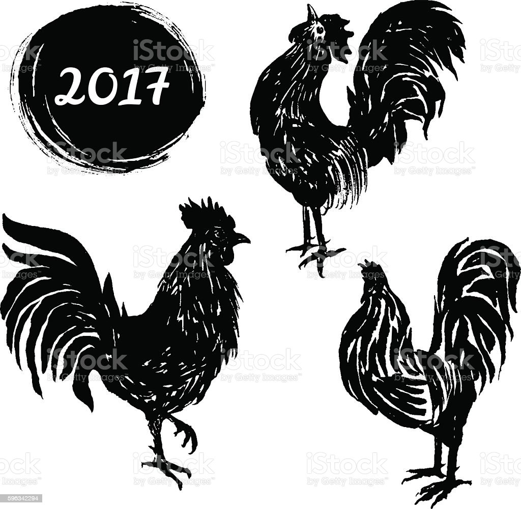 Silhouettes of roosters. Cock illustration. Symbol  2017 New Year. royalty-free silhouettes of roosters cock illustration symbol 2017 new year stock vector art & more images of abstract