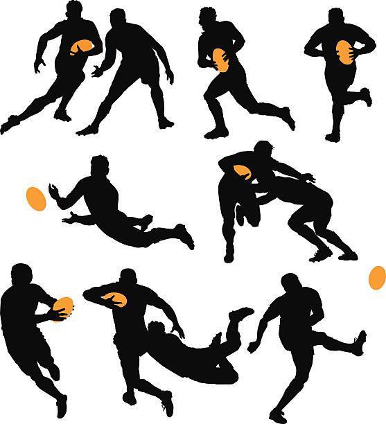 silhouetten von rugby-spieler das spiel spielen - rugby stock-grafiken, -clipart, -cartoons und -symbole