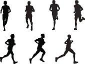 silhouettes of various men running