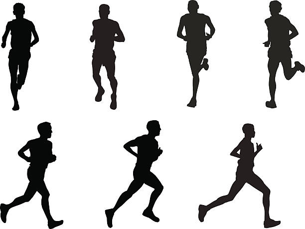 silhouettes of runners in positions - running stock illustrations