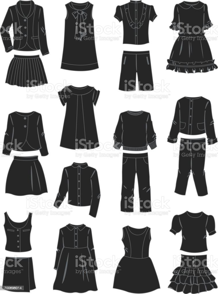 Silhouettes of school clothes for girls vector art illustration