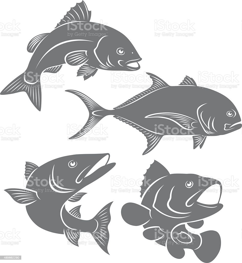 silhouettes of sea fishes vector art illustration