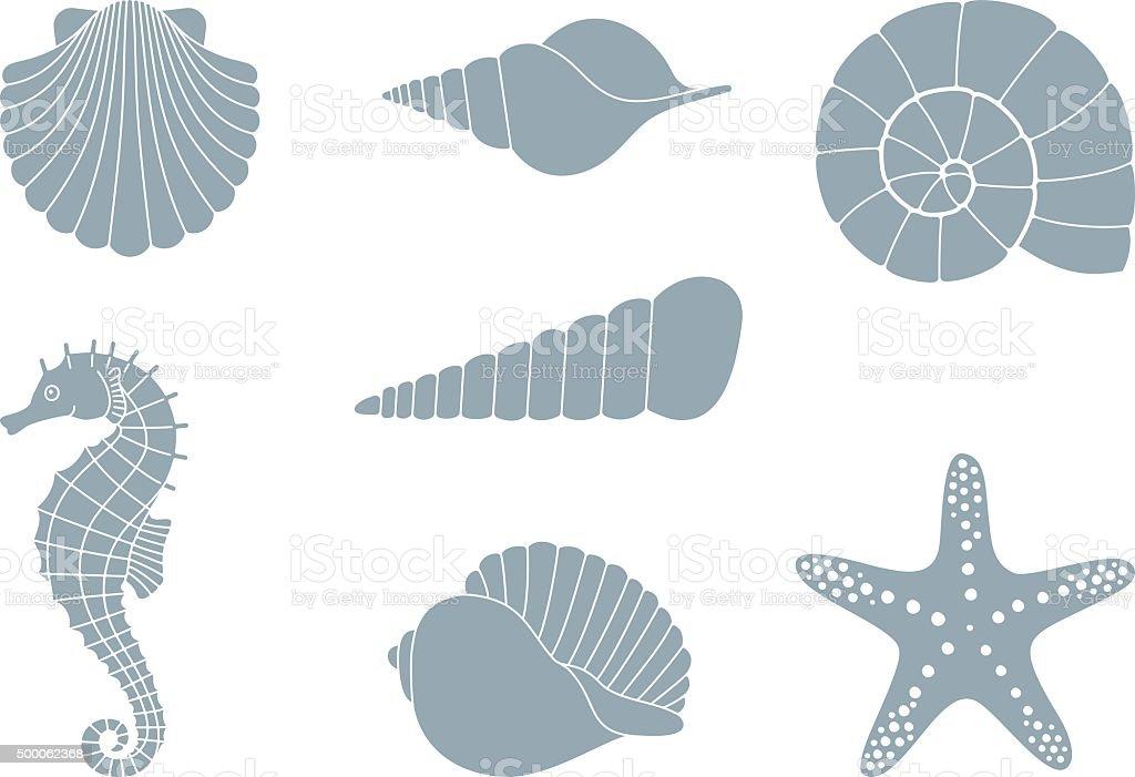Silhouettes of sea inhabitants vector art illustration