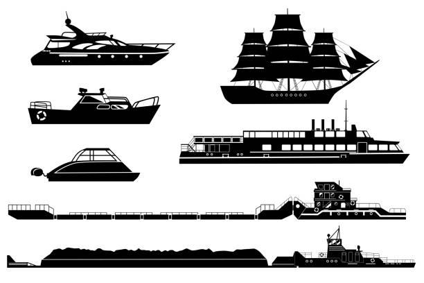illustrations, cliparts, dessins animés et icônes de silhouettes de navires et bateaux en vecteur - voilier à moteur