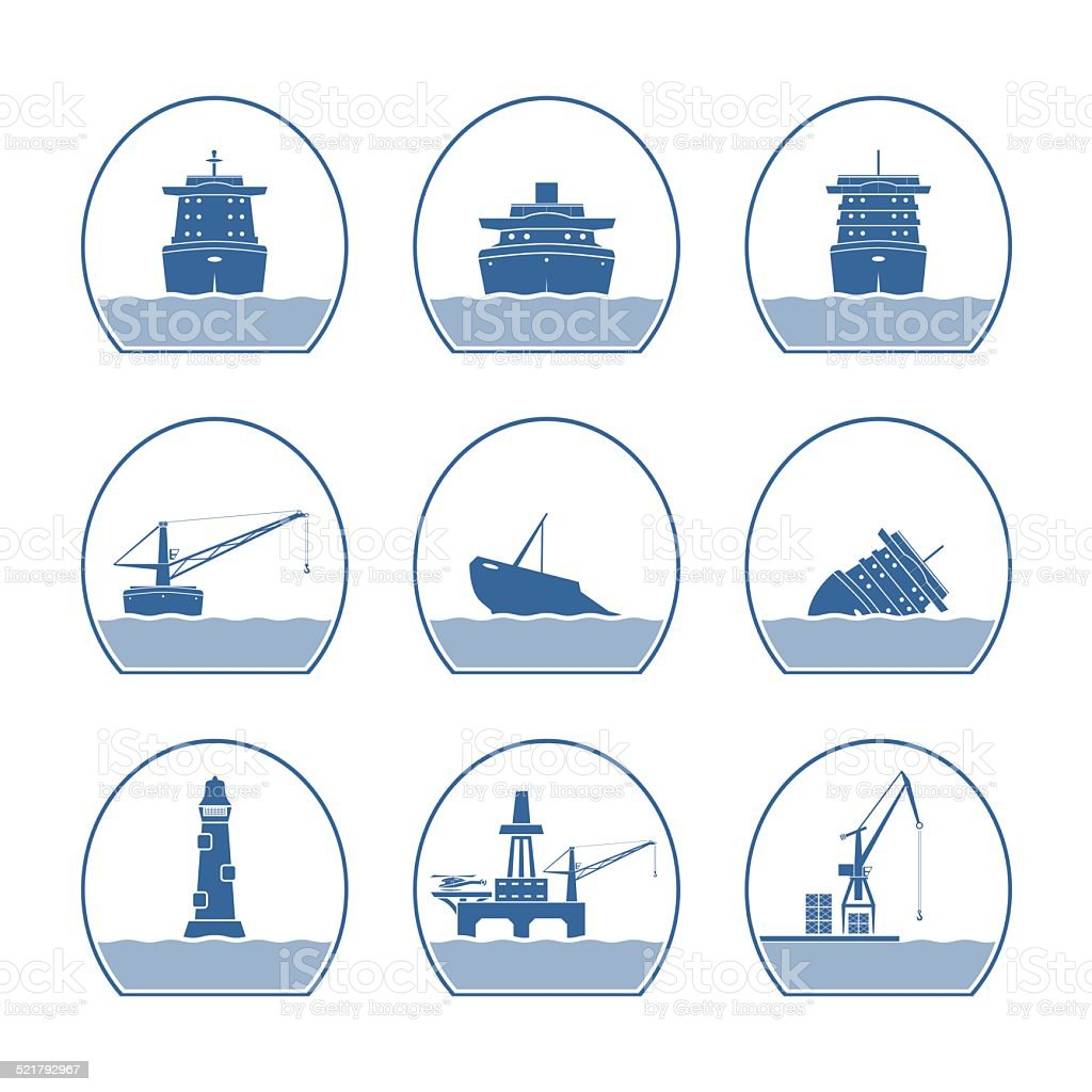 Silhouettes of ships and marine structures vector art illustration