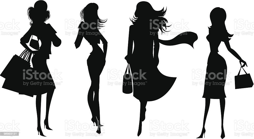 Silhouettes of shopping women 4 royalty-free stock vector art