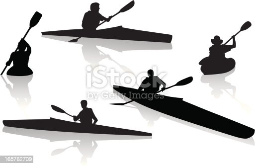 istock Silhouettes of single kayakers kayaking 165762709
