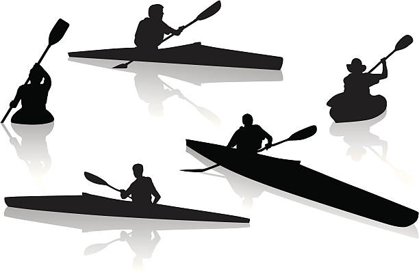 silhouettes of single kayakers kayaking - kayaking stock illustrations, clip art, cartoons, & icons