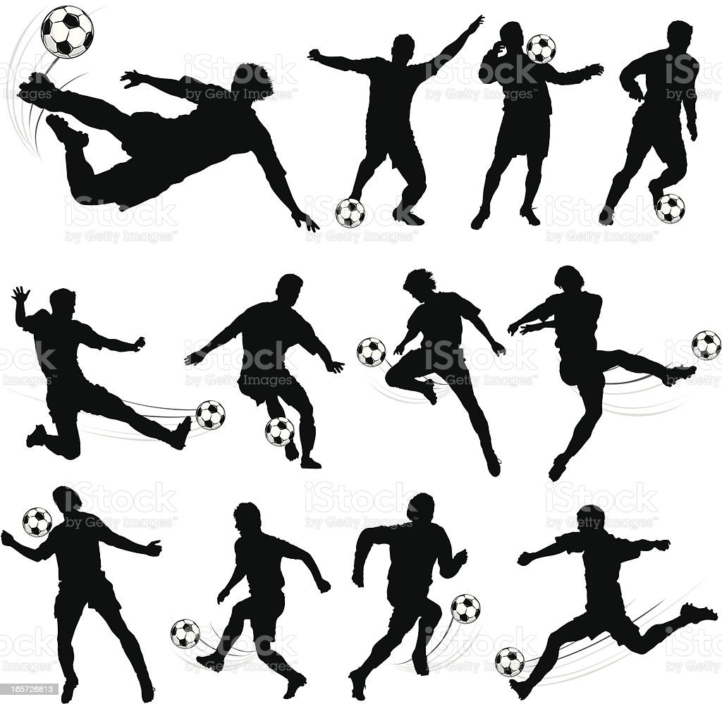 Silhouettes of soccer players royalty-free stock vector art
