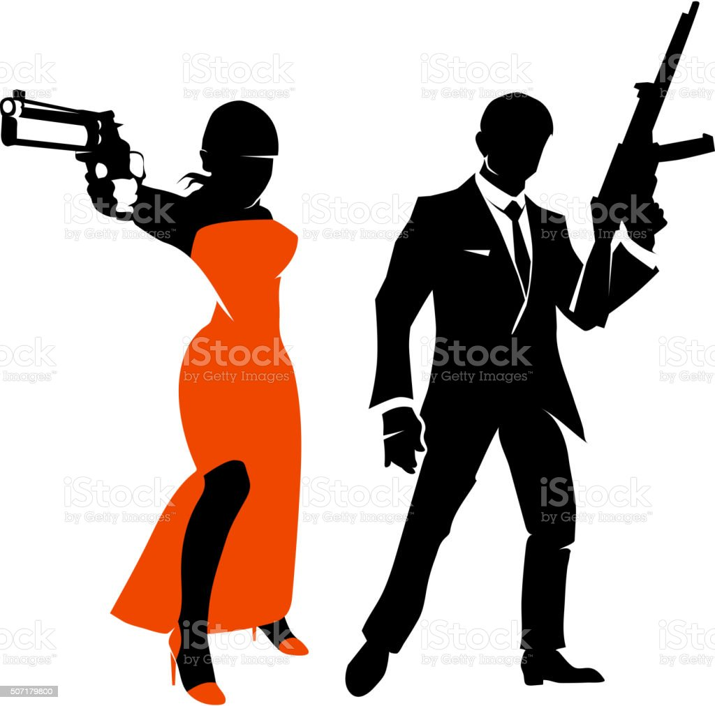 Silhouettes of spy couple. Vector characters vector art illustration
