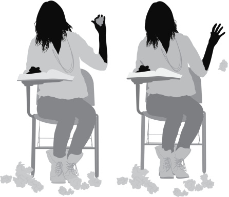 Silhouettes of student throwing papers