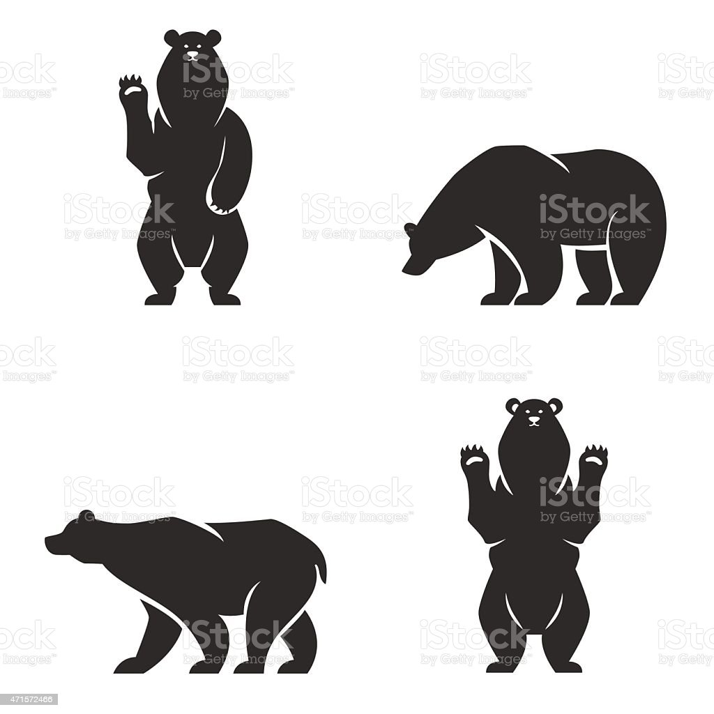 silhouettes of the bears vector set vektorkonstillustration