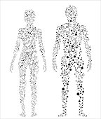 2 silhouettes of the human body made up of dots