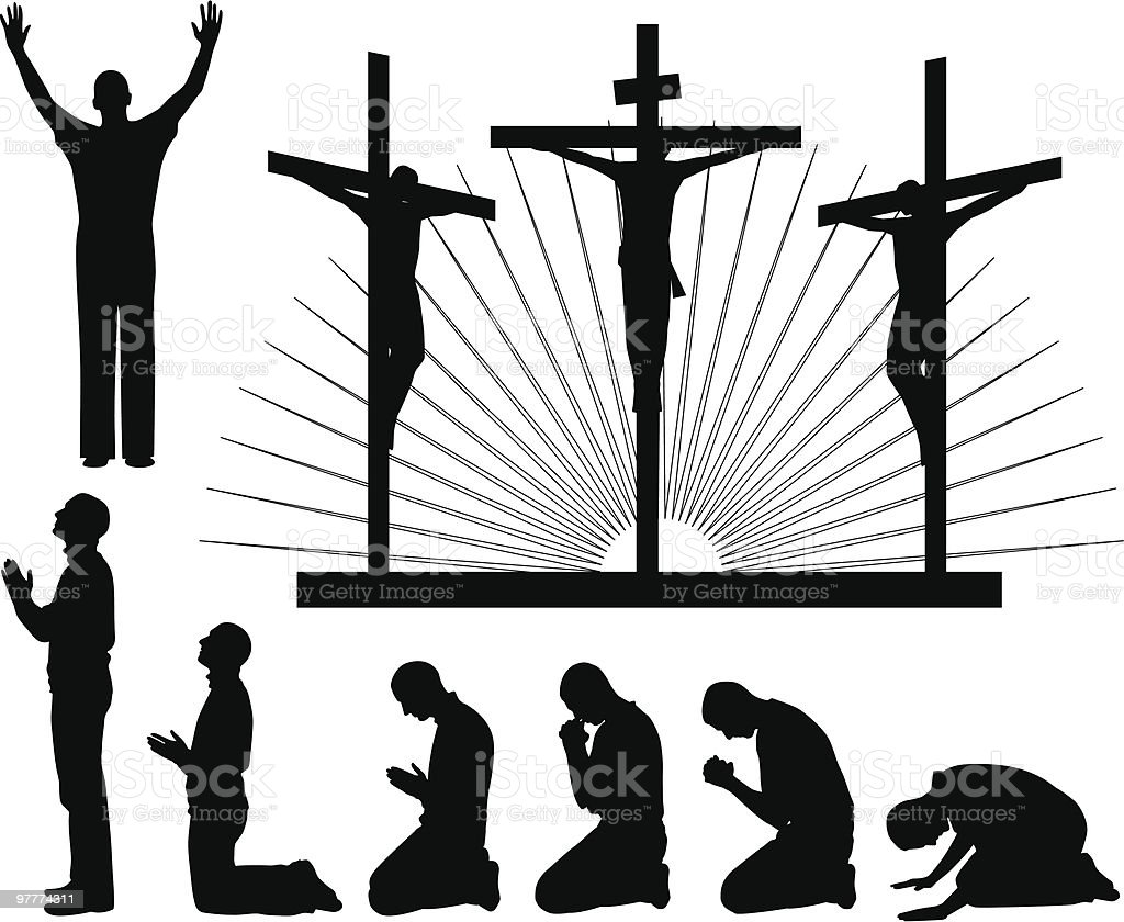 Silhouettes of the three crosses and praying man vector art illustration