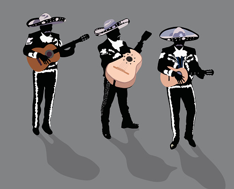 Silhouettes of three members of a Mariachi Band