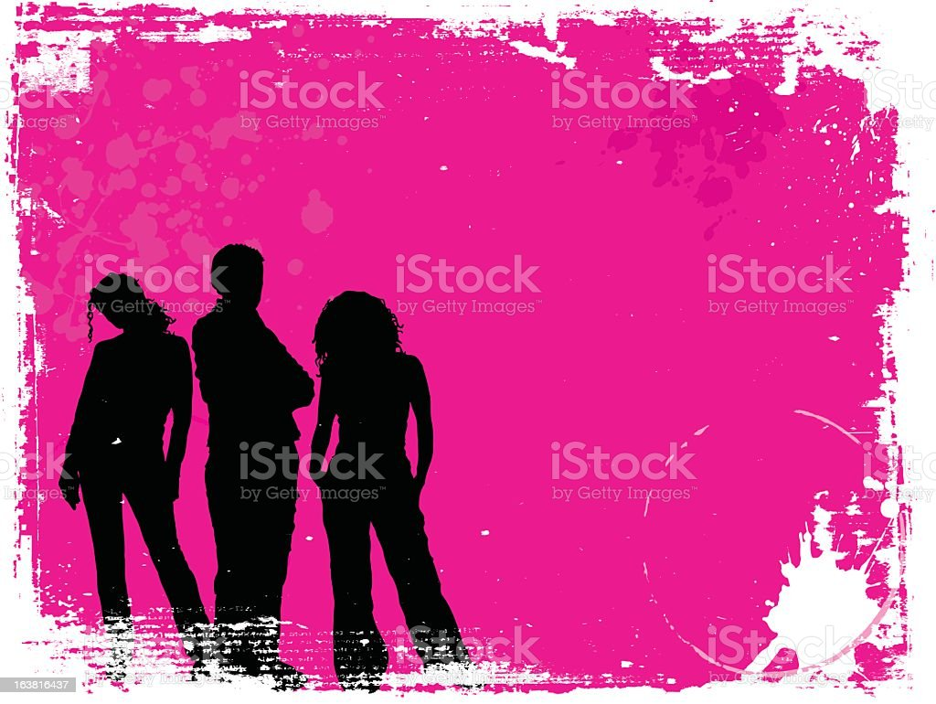 Silhouettes of three young people on pink paint background royalty-free stock vector art