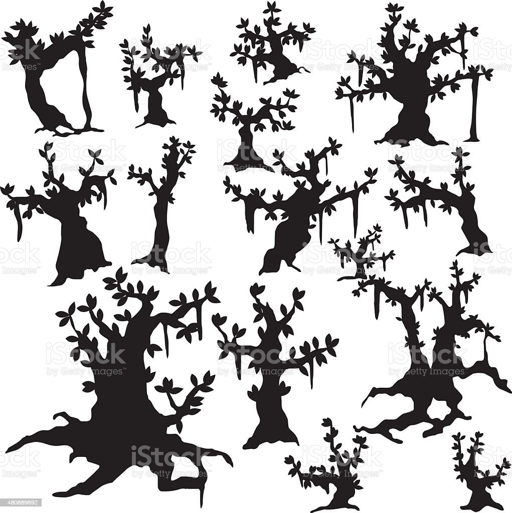 silhouettes of trees vector art illustration
