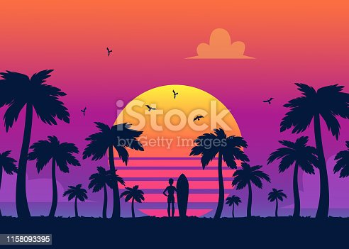 istock Silhouettes of tropical summer palm trees, surfer and the beach on the background of a gradient sunset. 1158093395