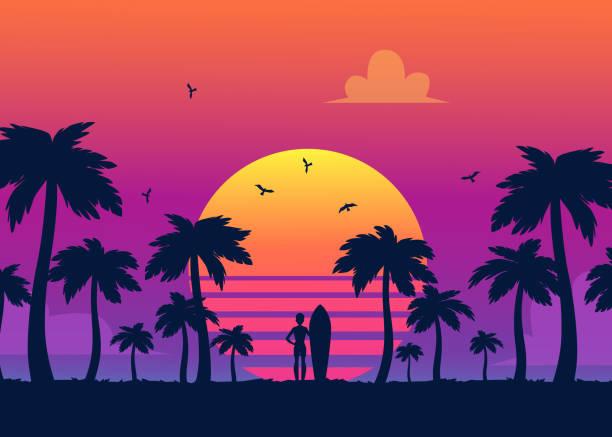 sylwetki tropikalnych letnich palm, surfer i plaża na tle gradientowego zachodu słońca. - zachód słońca stock illustrations