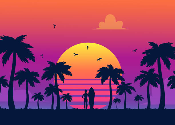 silhouettes of tropical summer palm trees, surfer and the beach on the background of a gradient sunset. - zachód słońca stock illustrations