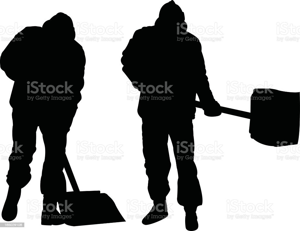 Silhouettes of two men shoveling on a white background royalty-free stock vector art