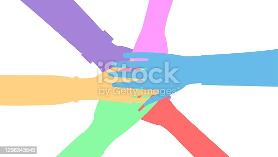 istock Silhouettes of united hands of men and women. The concept of cooperation, unity, friendship and mutual assistance. Vector illustration. 1296343549