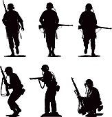 Set of Six Silhouettes of USA Army Combat Soldiers. Isolated on white.