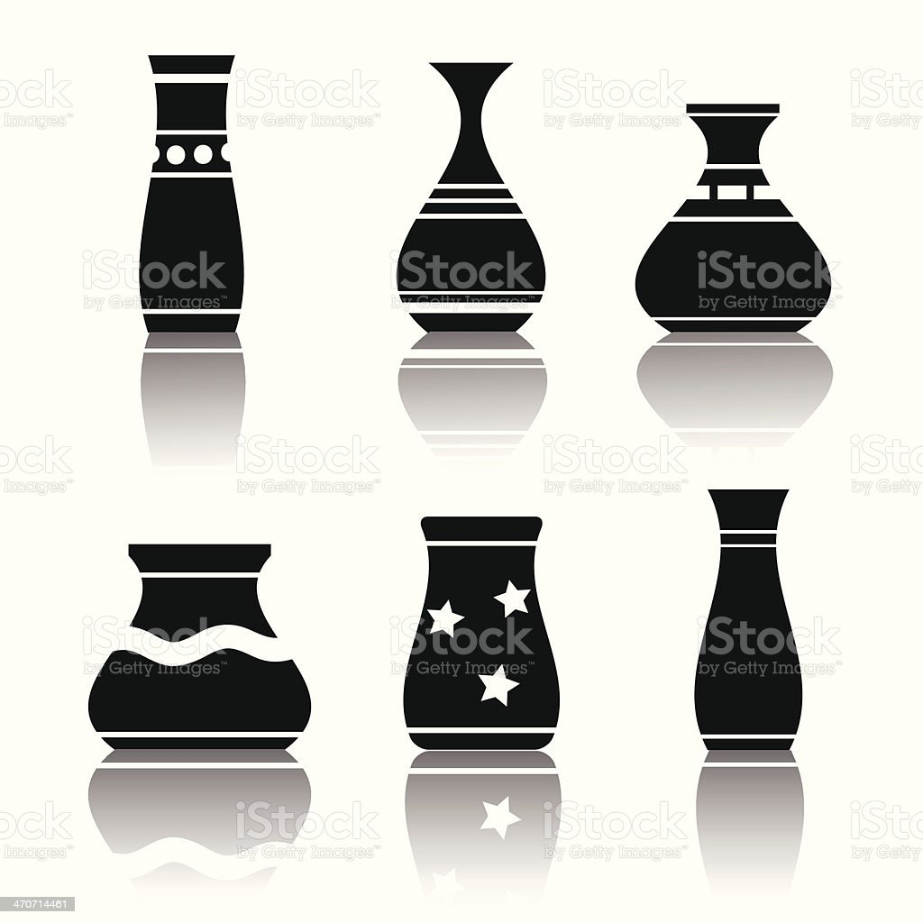 silhouettes of vases vector art illustration