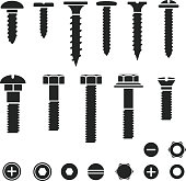 Silhouettes of wall bolts, nuts and screws
