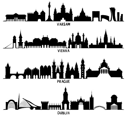 Silhouettes of Warsaw, Vienna, Prague and Dublin
