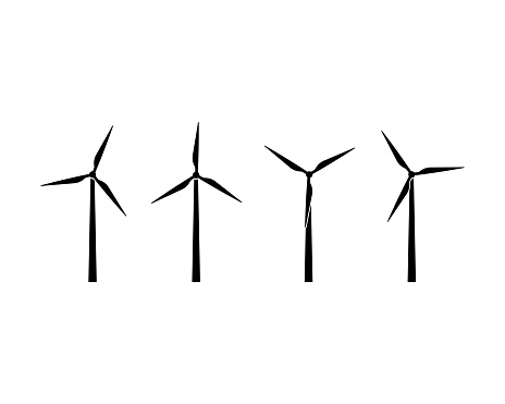 Silhouettes of wind turbines icon set. Wind farm energy sign. Green electricity. Offshore. Vector on isolated white background. EPS 10.