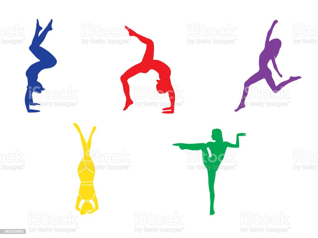 Silhouettes of woman doing yoga exercises. Icons of flexible girl...