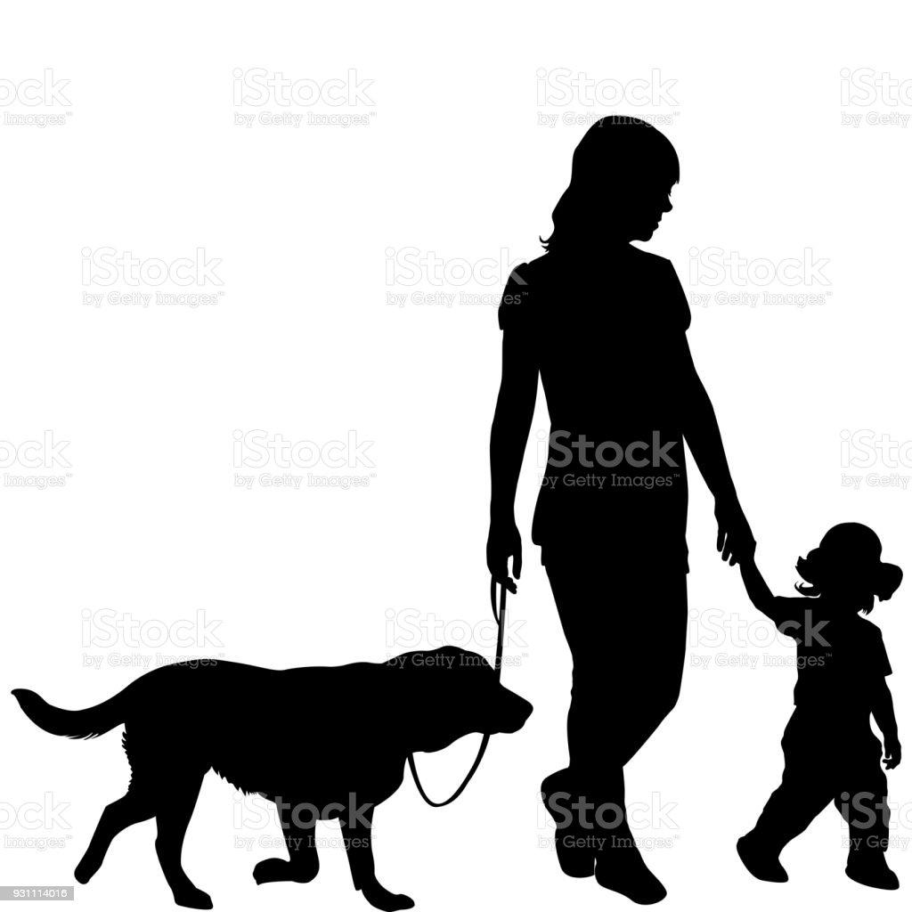 Çocuk ve köpek ile kadın siluetleri - Royalty-free Aile Vector Art