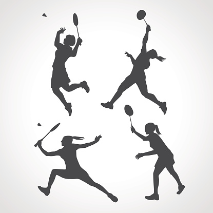 Silhouettes of women professional badminton players