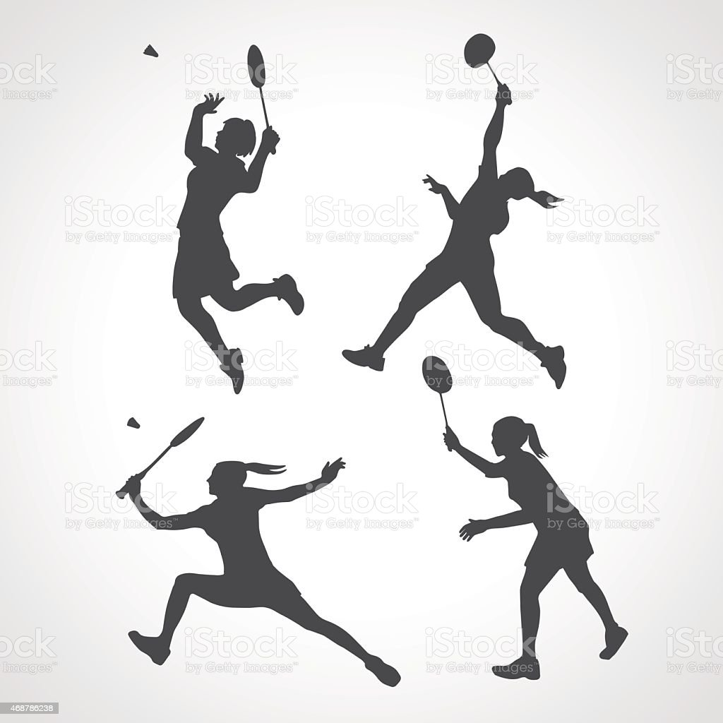 Silhouettes of women professional badminton players vector art illustration