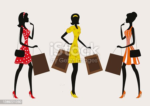 istock Silhouettes of women shopping on a retro grunge background 1289221250