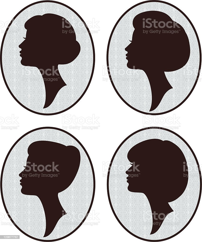 Silhouettes of Women with DIfferent Hairstyles royalty-free stock vector art