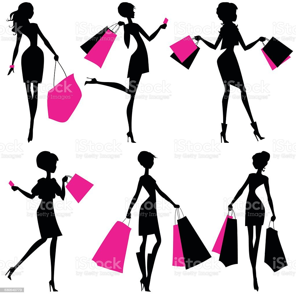 Silhouettes of women with shopping bags vector art illustration